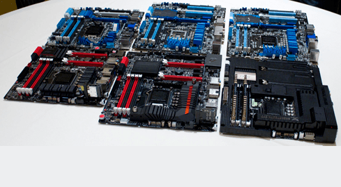 Photo of Asus shows boards for the Ivy Bridge processors