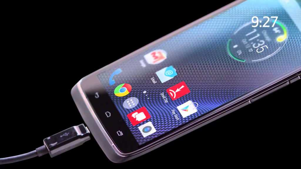 """The """"Turbo Charging"""" capability of the Droid Turbo promises to provide battery life for about eight hours of work after only a quarter of an hour of charging"""