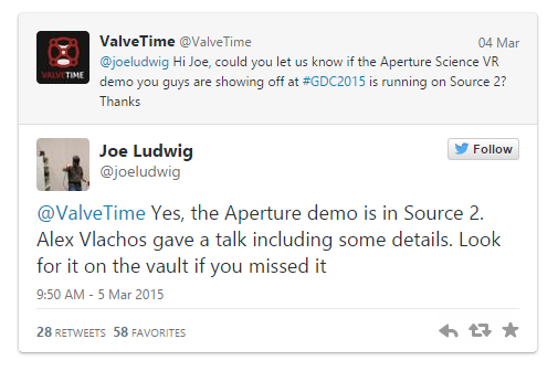 A formal confirmation from Twitter that the demo it presented was indeed based on the new Source 2 engine