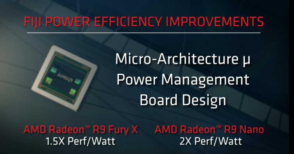 ה-Fury Nano מתיימר להציע קפיצה חסרת תקדים ביעילות - אפילו יותר ממה שראינו ב-Maxwell 2.0 של NVIDIA