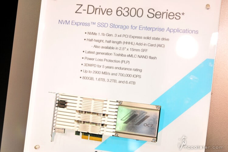 Just so you do not think that the SSD market has nowhere to strive for and develop - recognize the Z Drive 6300 for enterprise servers and applications, with maximum speeds of close to 3GBps, up to 700,000IOPS and volumes that come to 6.4TB, Medium screen