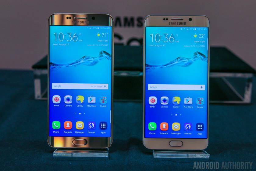 ה-Note החדש (מימין) ולצידו ה-S6 Edge המוגדל מקור: androidauthority.com