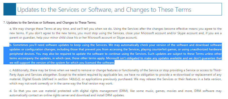 This section has not yet been found in any of the Microsoft agreements with which you give it access to scan all the files on your system to identify any content it does not allow