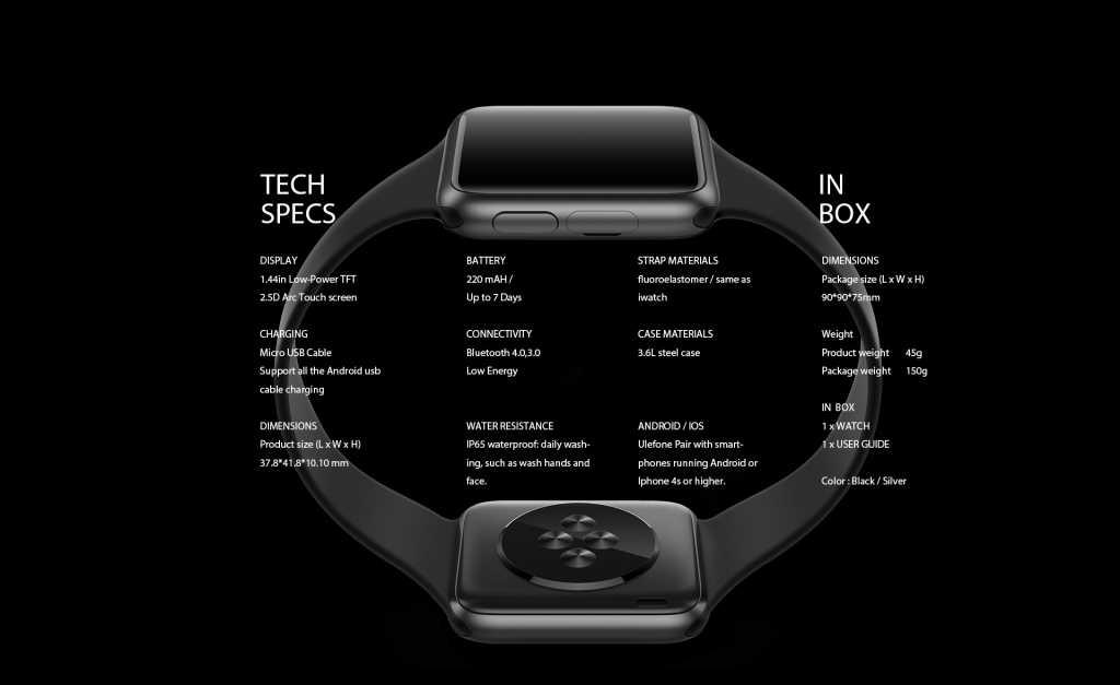 ב-Ulefone ללא ממש מתכחשים לדמיון הגדול בין השעון שלהם לשעון של אפל