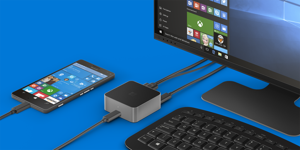 The current Microsoft Continuum solution, with a wired adapter that includes an HDMI connection, a DisplayPort and 3 connection, is not the most elegant one you could imagine - but it gives an advantage we have not seen yet