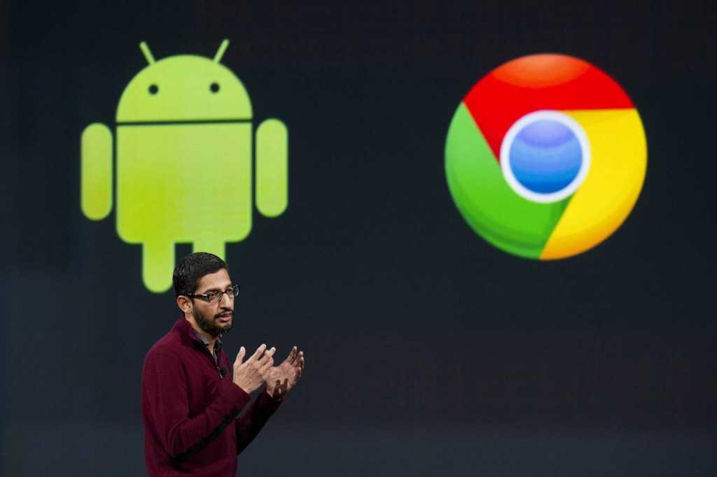 """בגוגל רואים באנדרואיד ו-Chrome OS חטיבה אחת מאוחדת עוד משנת 2013, כשהמנכ""""ל הנוכחי של החברה סונדר פיצ'אי (בתמונה) היה זה שהוביל את מהלך האיחוד באותה תקופה"""