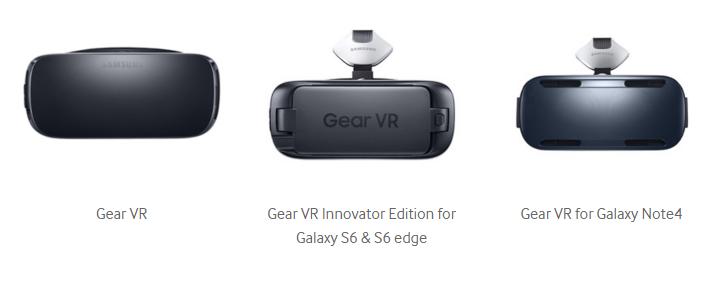 הדור החדש (משמאל), לצד צמד דגמי ה-Gear VR הקודמים. שיפור מבורך