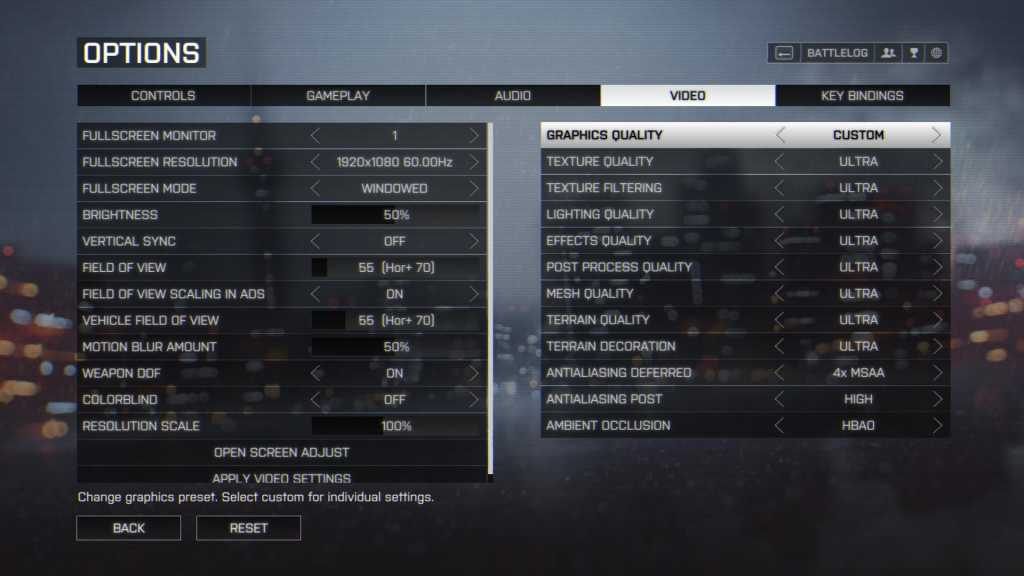 Define yourself. Graphics Settings screen from Battlefield 4.