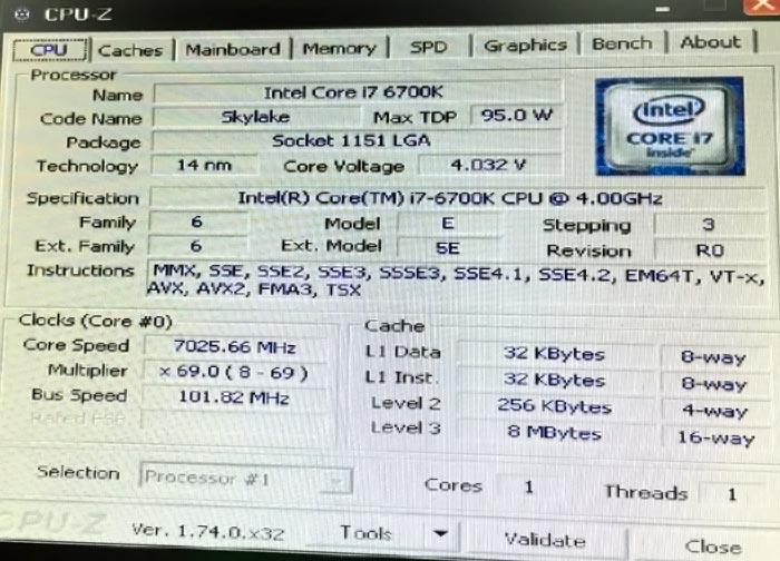 תדר השיא כפי שמצולם דרך CPU-Z