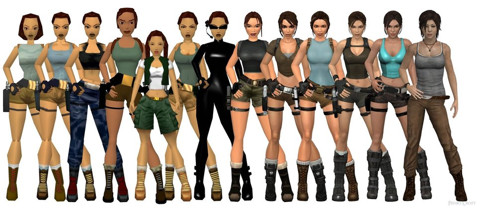 The development of Lara's appearance for more than two decades