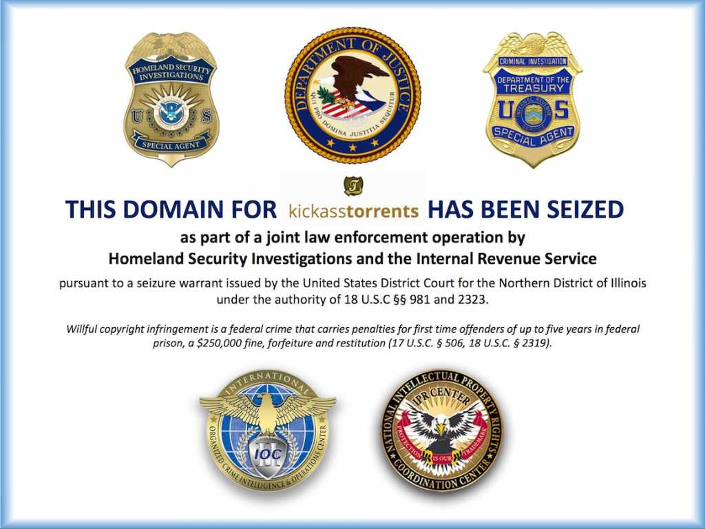 The announcement of the American enforcement authorities in the site kickasstorerents.to site