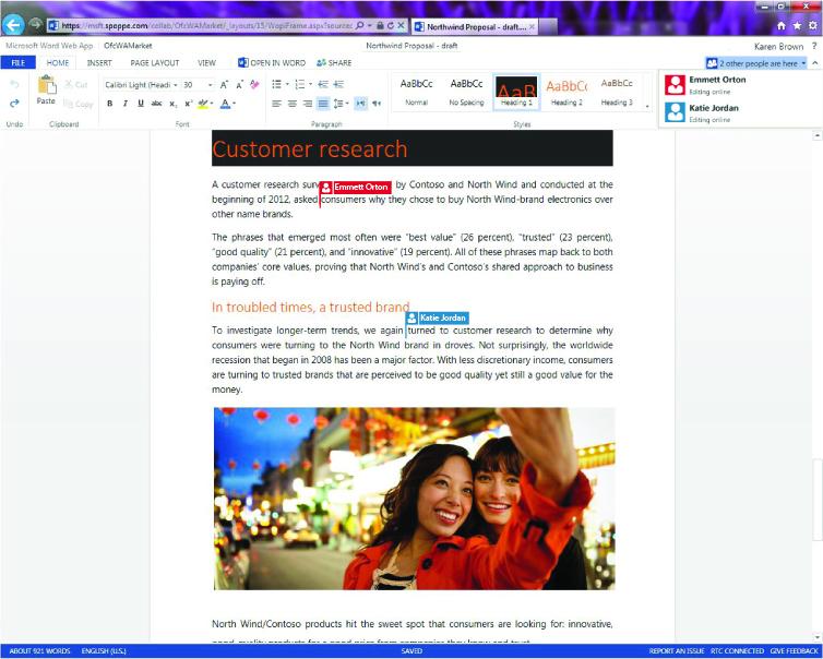 גרסת הדפדפן של Word365 (מתוך: אתר מיקרוסופט)