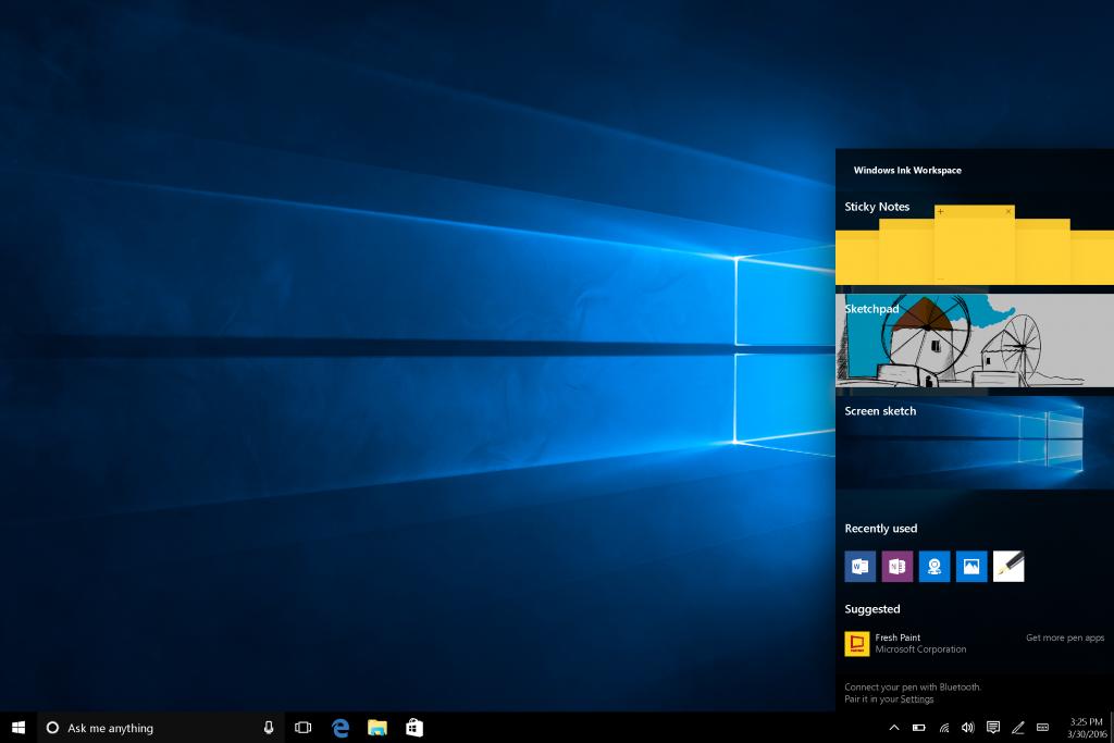 מרחב העבודה של Windows Ink