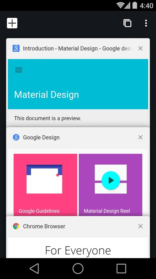 Chrome browser in Android (screenshot: Google)