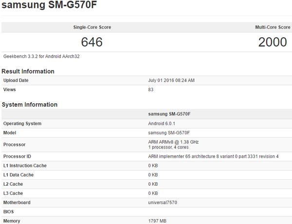 הופעה מוקדמת של ה-Exynos 7570 במאגר מבחן ה-Geekbench, עם תדר עבודה של 1.4GHz שעשוי להיות הרשמי והסופי, או שרק עבור דגם מוקדם