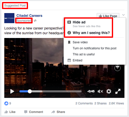 An advertisement on Facebook must be visible to the user. Photo from the Narayanan blog