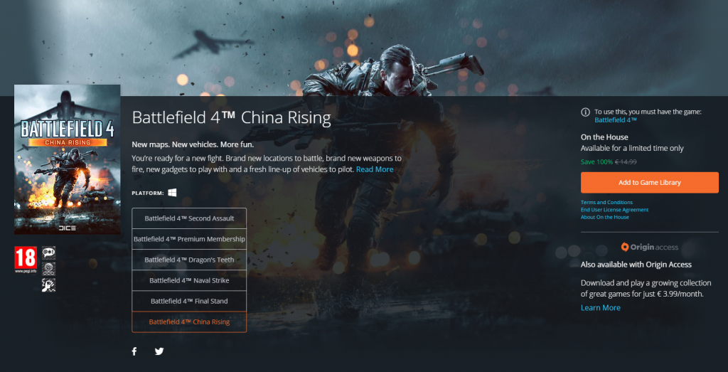 Free for everyone - all you need is the Battlefield 4 itself