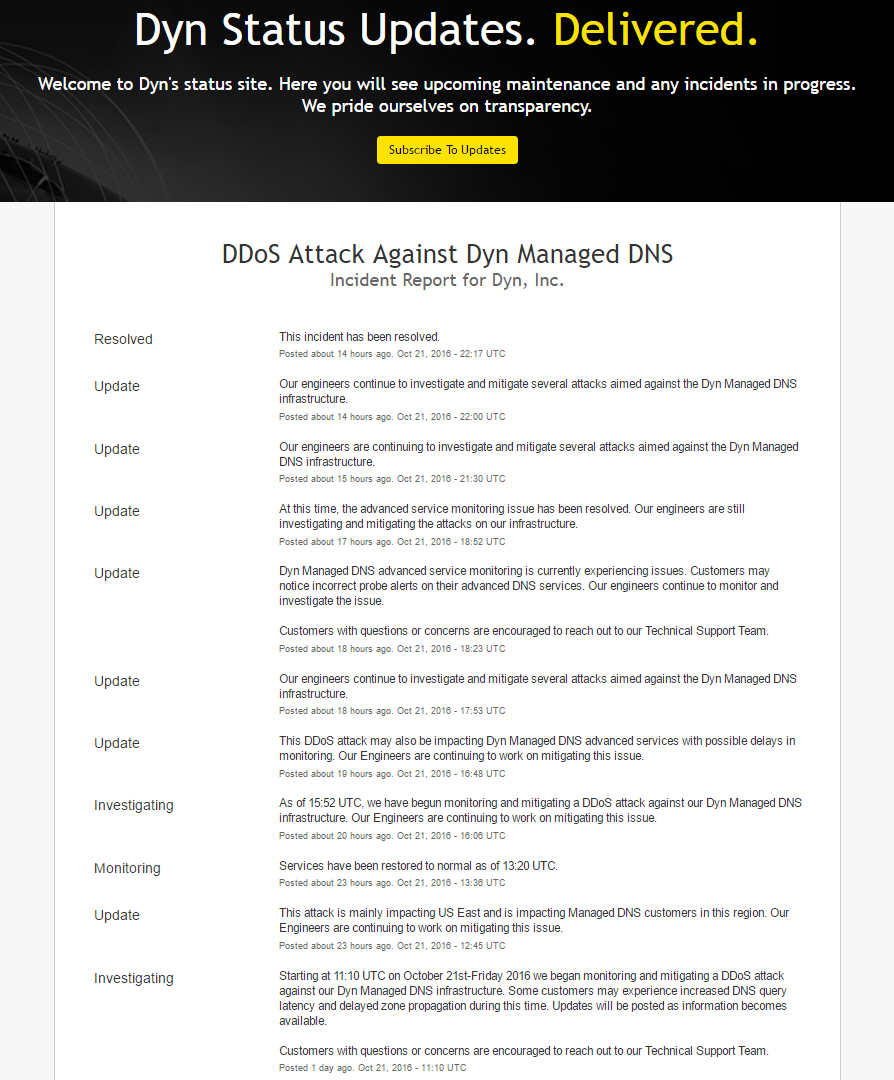 Dyn announced that they have managed to overcome three different waves of DDoS attacks, as of now