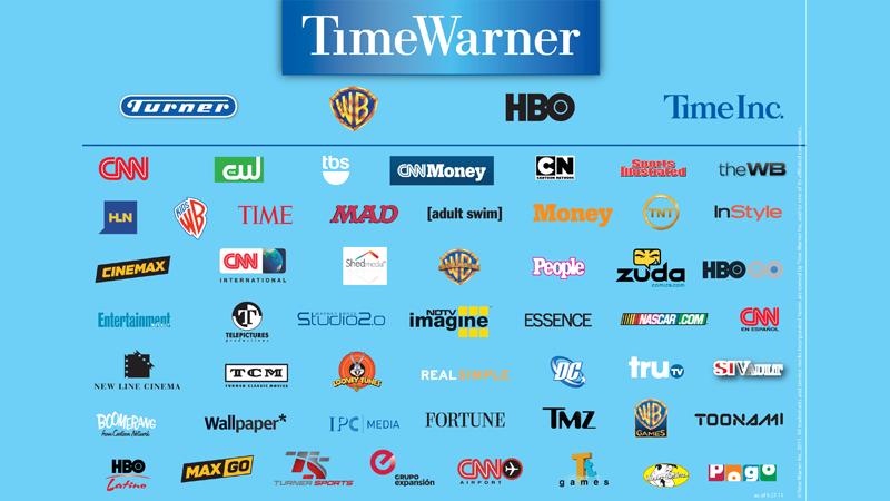 חלק מהחברות שנכללות תחת השם הכולל Time Warner