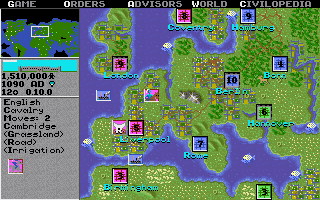 Map of the game in Civilization I