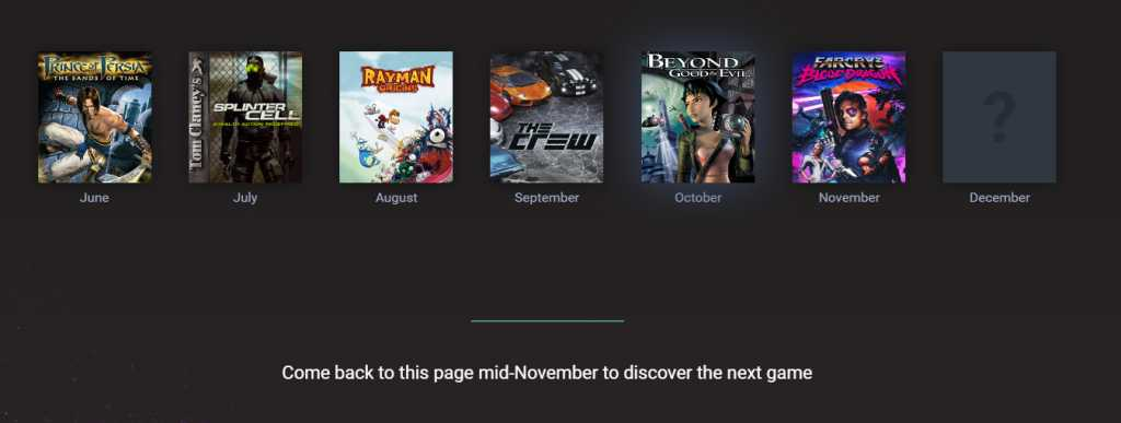 Want to try and guess what will be the last game that Ubisoft will offer for free, in December?