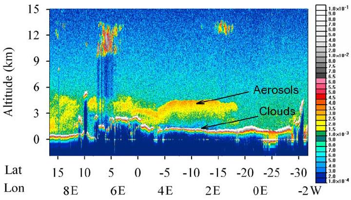 """דוגמה לתמונה שמספק מכ""""ם הלייזר, ה-LIDAR הלווייני של נאס""""א"""
