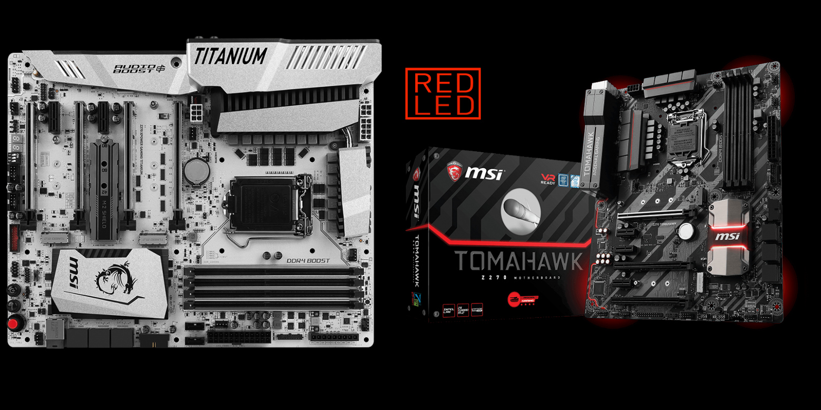 The MSI Z270 TOMAHAWK and Z270 XPOWER GAMING TITANUM. Click to increase
