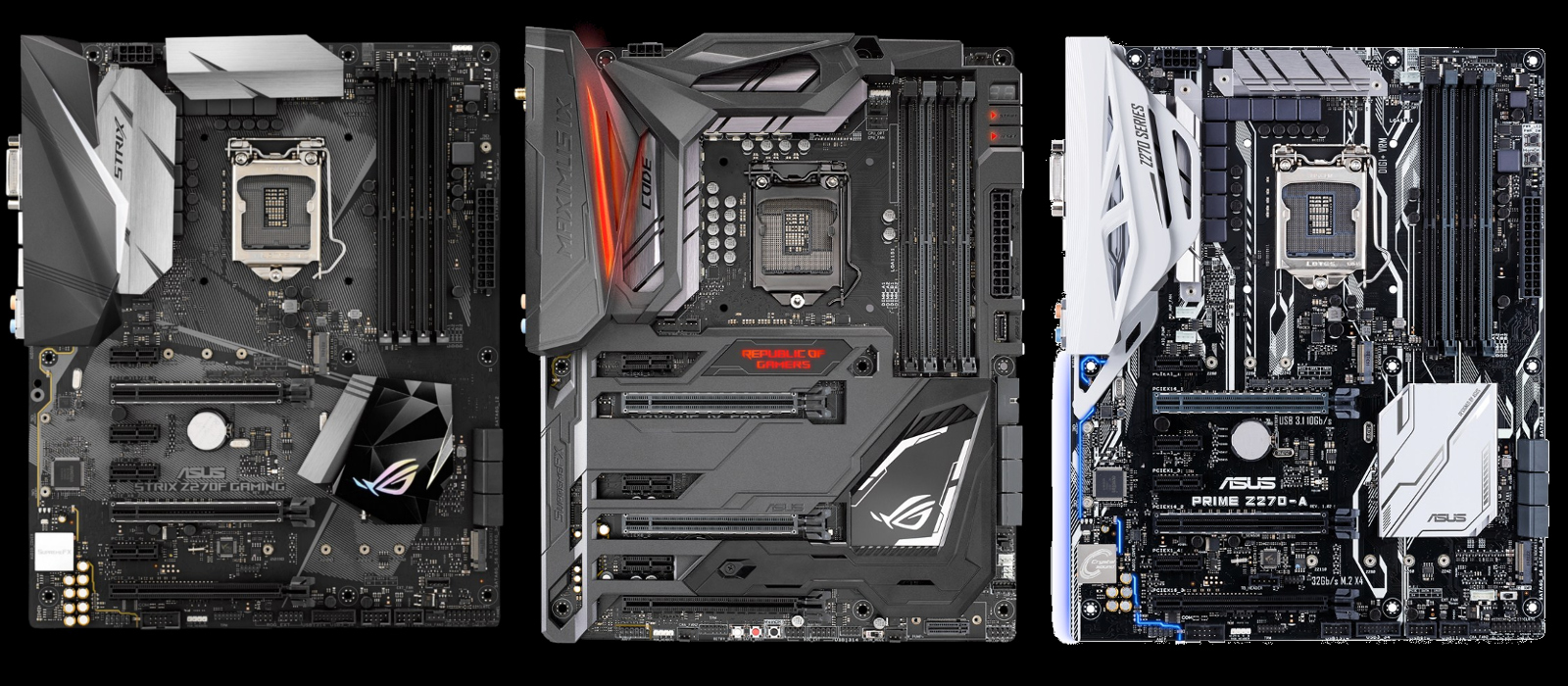 Asus's new motherboards, from right to left - the Z270-A, the Maximus IX CODE and the Z270F STRIX