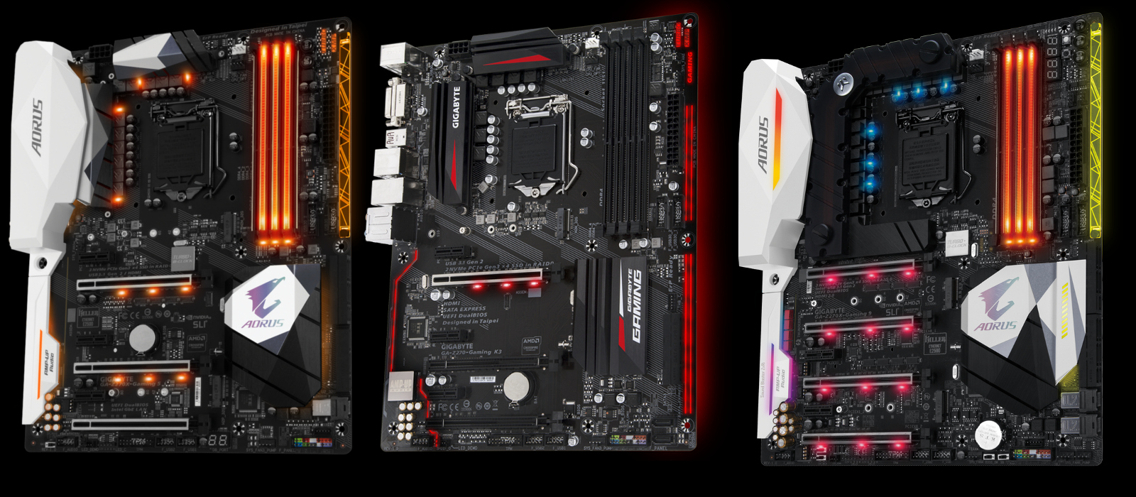 Obsession for lighting on all parts of the board - the Z270X-Gaming 9, the Z270-Gaming K3 and the Z270X-Gaming 5. Click to increase